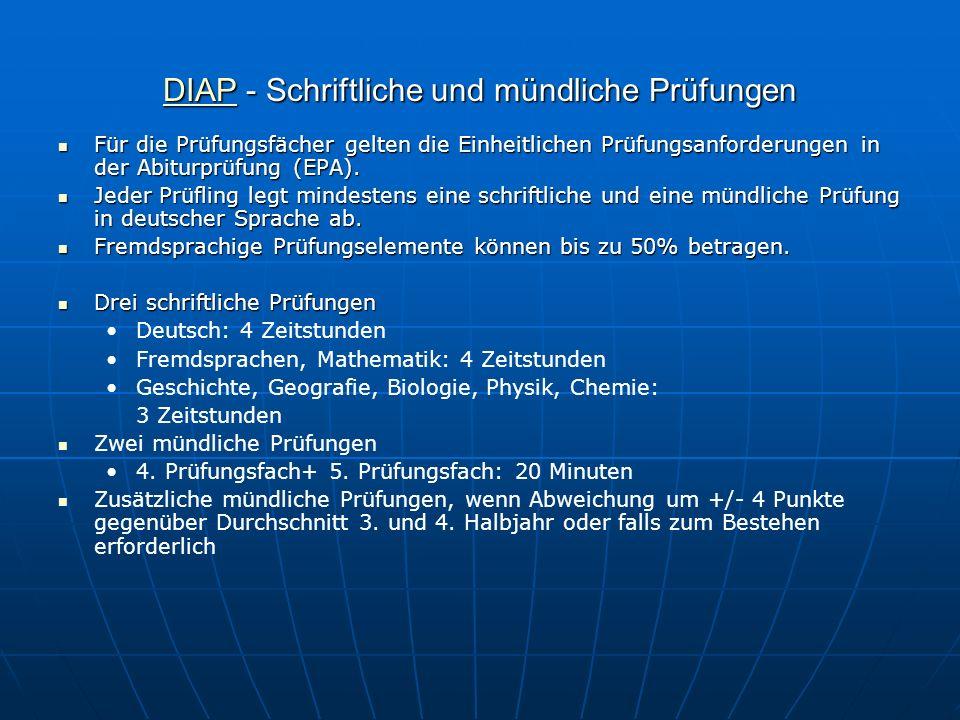 DIAP - Schriftliche und mündliche Prüfungen
