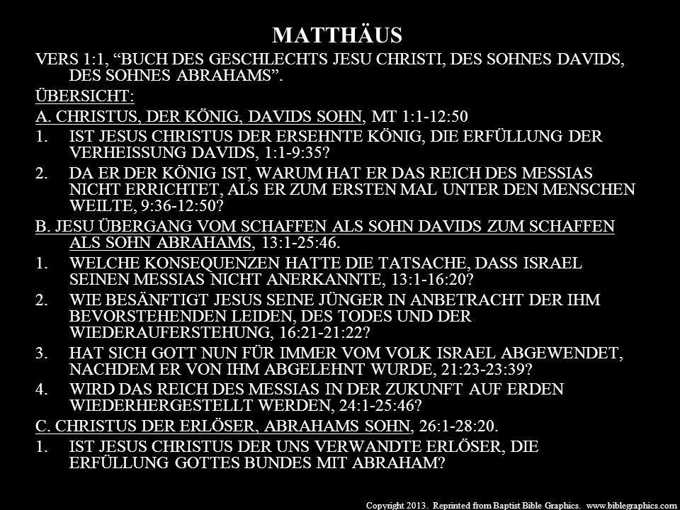 MATTHÄUS VERS 1:1, BUCH DES GESCHLECHTS JESU CHRISTI, DES SOHNES DAVIDS, DES SOHNES ABRAHAMS . ÜBERSICHT: