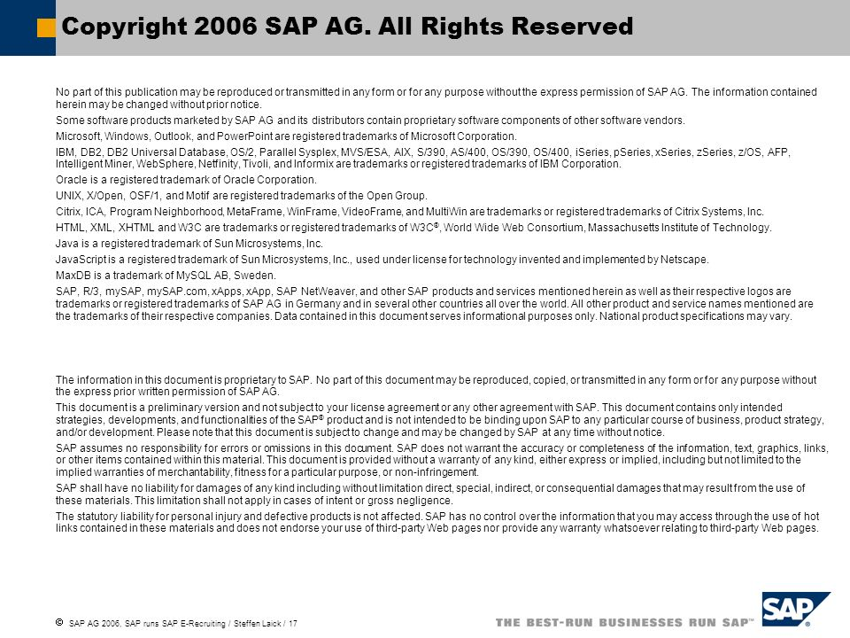 Copyright 2006 SAP AG. All Rights Reserved