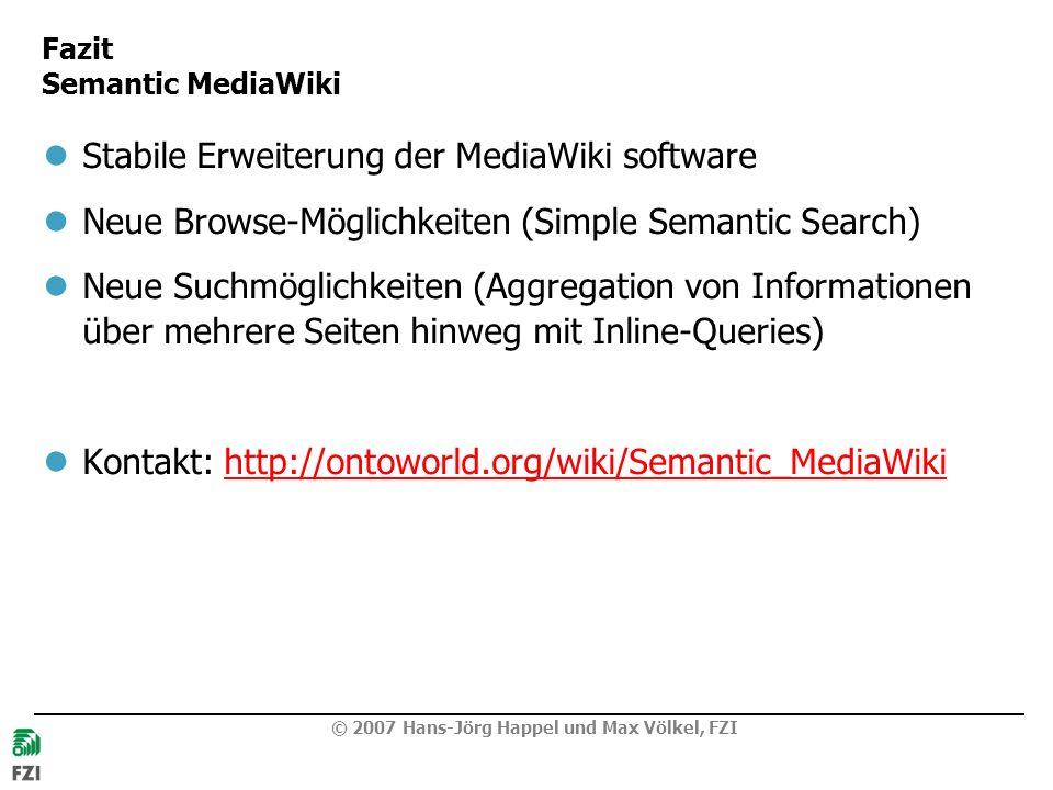 Fazit Semantic MediaWiki