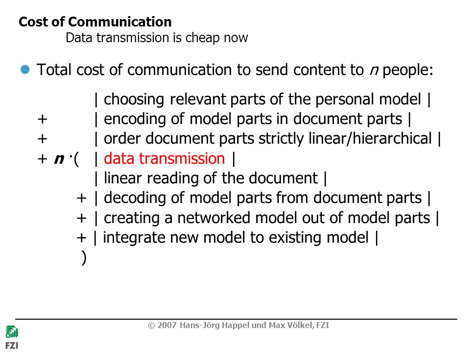 Cost of Communication Data transmission is cheap now
