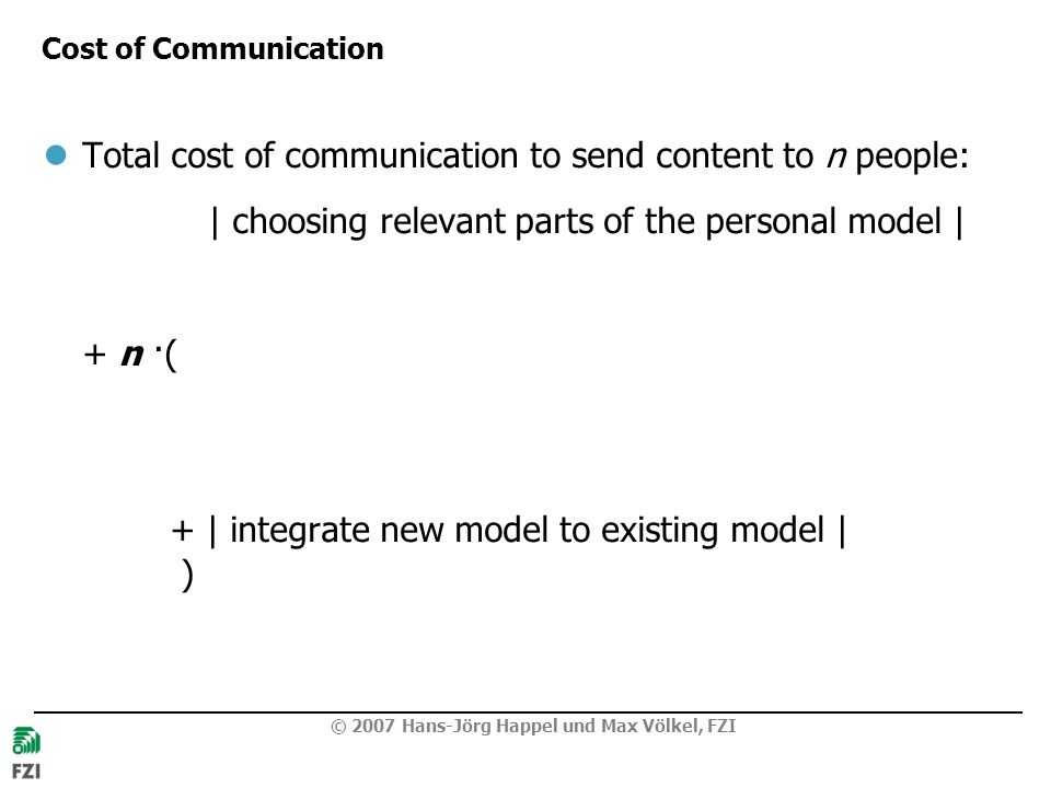 Total cost of communication to send content to n people:
