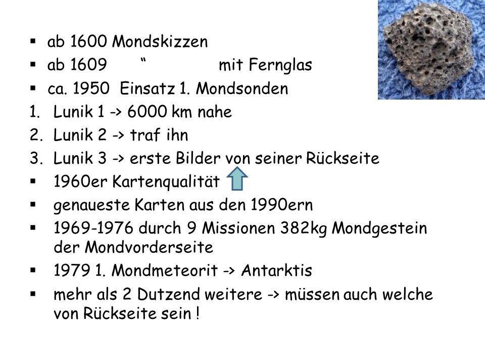 ab 1600 Mondskizzen ab 1609 mit Fernglas. ca. 1950 Einsatz 1. Mondsonden. Lunik 1 -> 6000 km nahe.