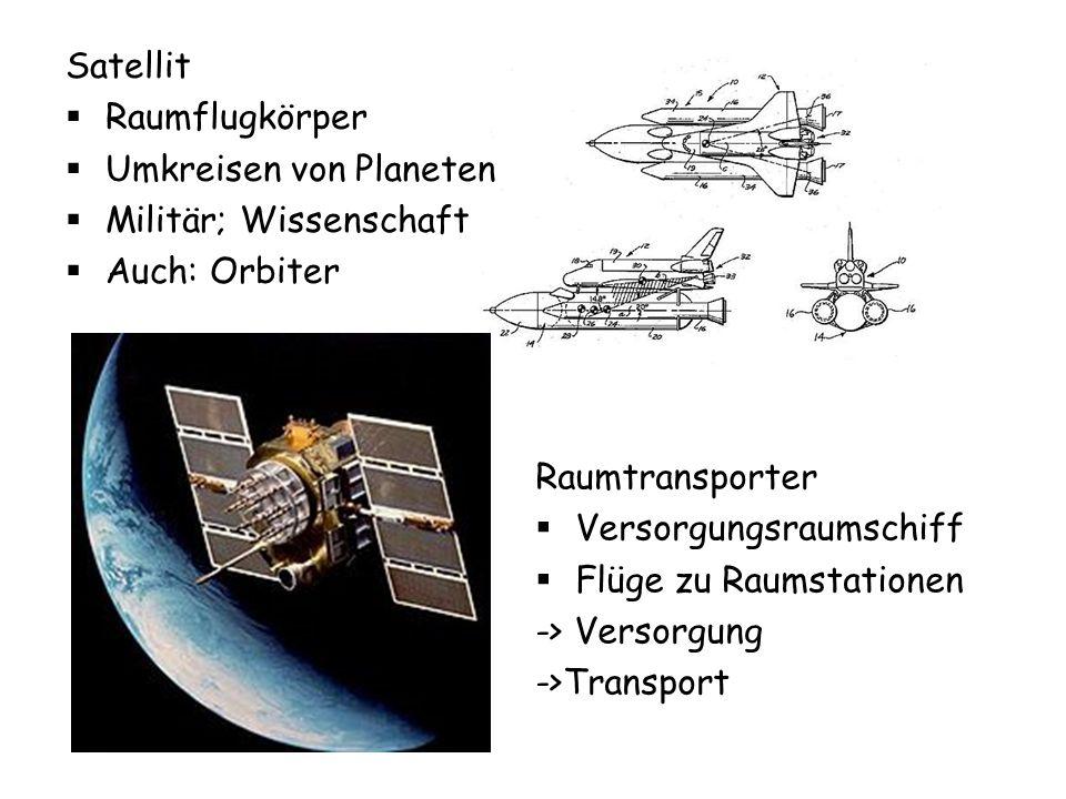 Satellit Raumflugkörper. Umkreisen von Planeten. Militär; Wissenschaft. Auch: Orbiter. Raumtransporter.