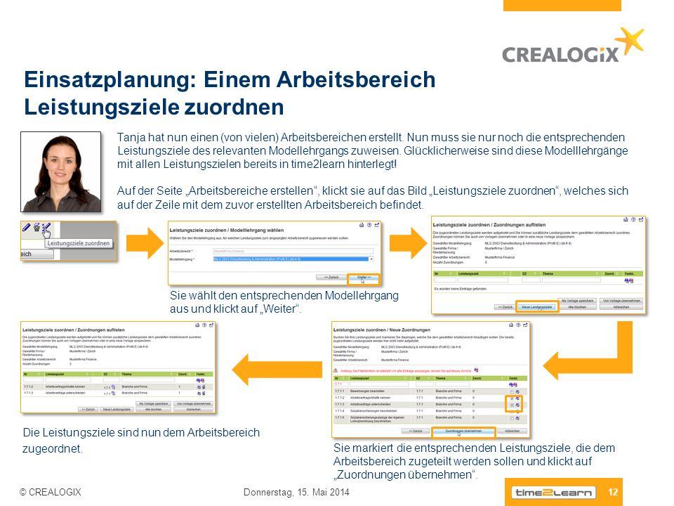 Einsatzplanung: Einem Arbeitsbereich Leistungsziele zuordnen