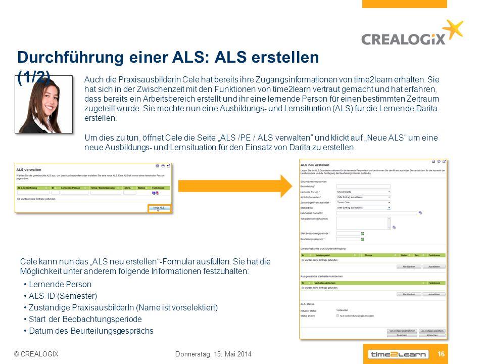 Durchführung einer ALS: ALS erstellen (1/2)