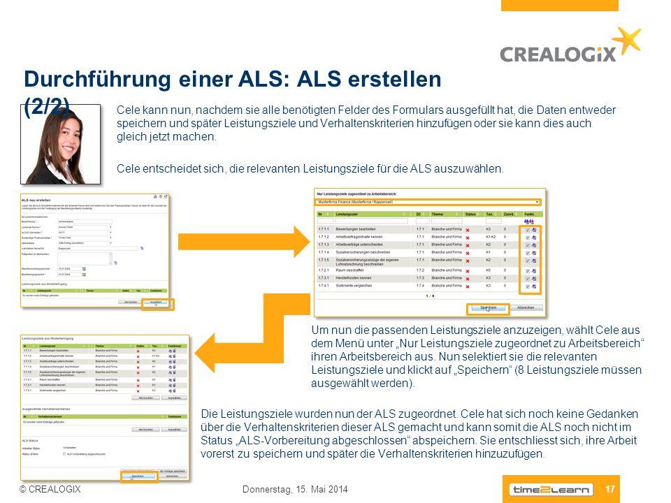 Durchführung einer ALS: ALS erstellen (2/2)