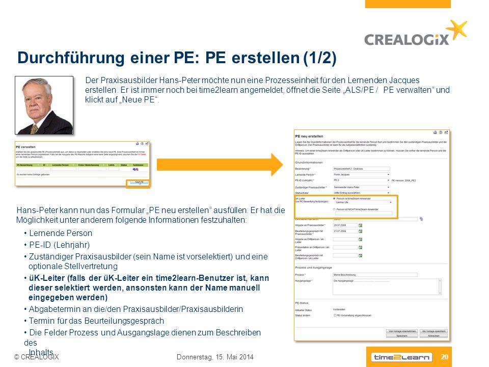 Durchführung einer PE: PE erstellen (1/2)