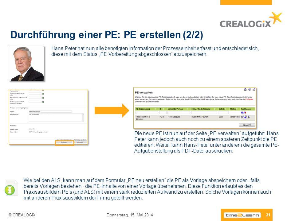 Durchführung einer PE: PE erstellen (2/2)