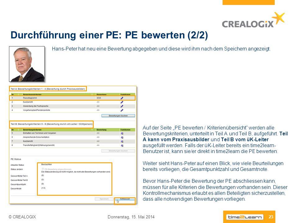 Durchführung einer PE: PE bewerten (2/2)