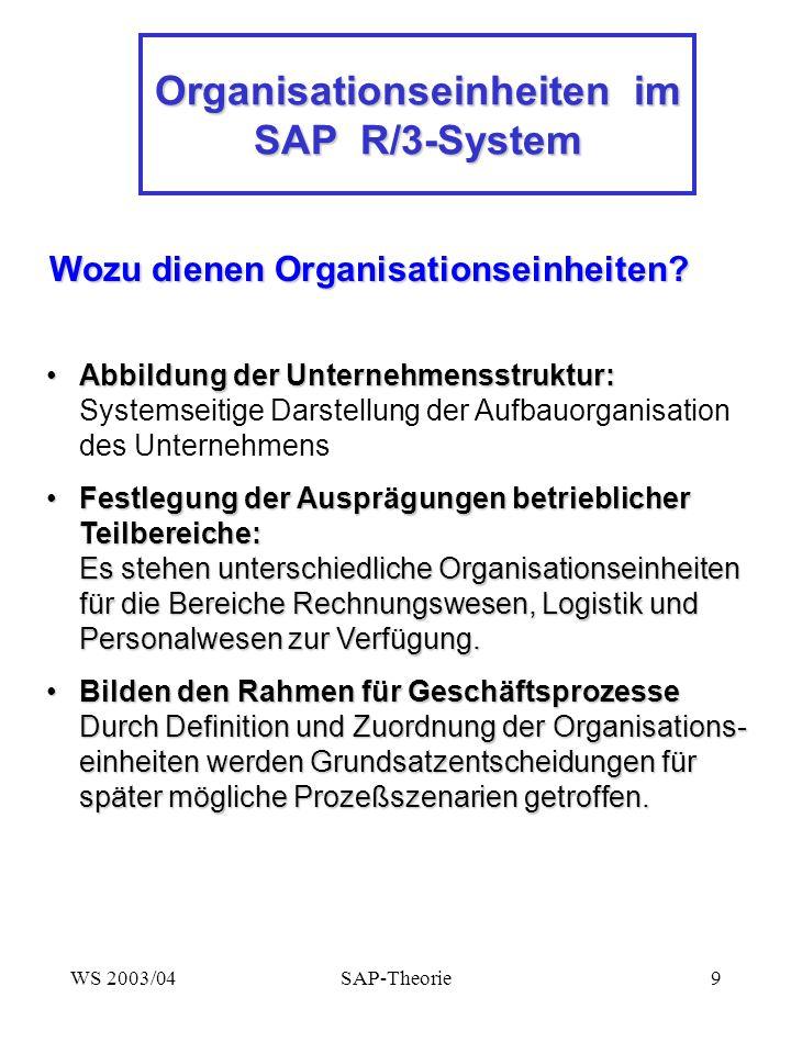 Organisationseinheiten im SAP R/3-System