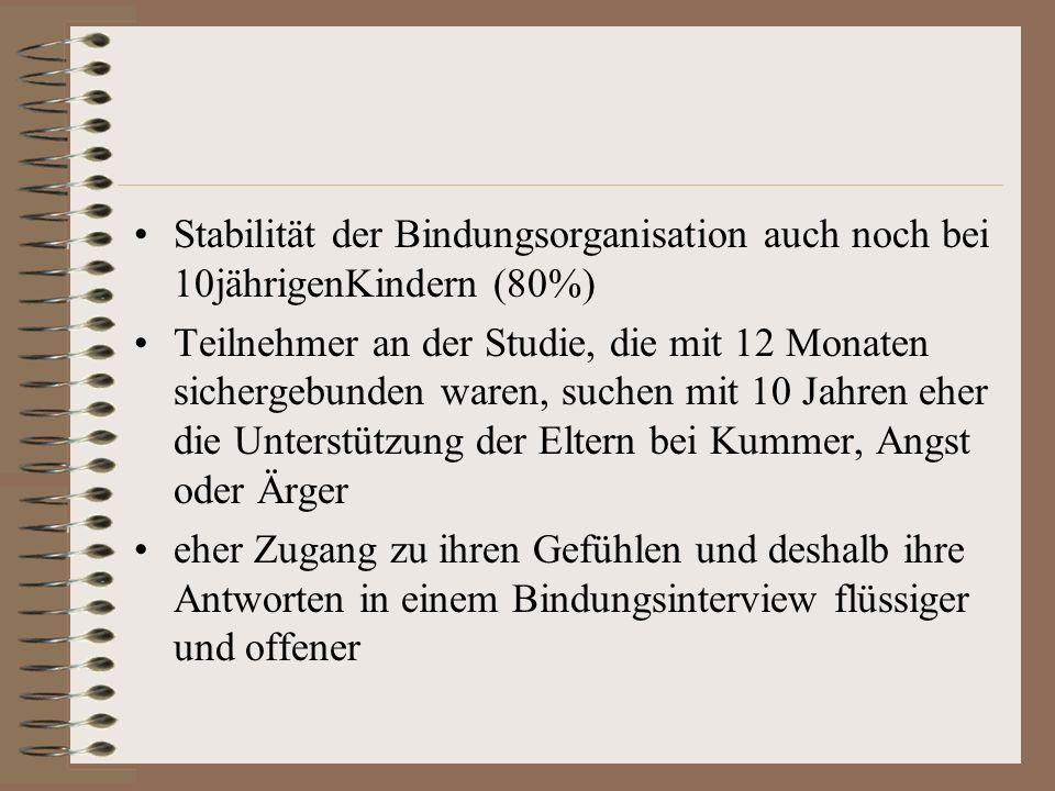 Stabilität der Bindungsorganisation auch noch bei 10jährigenKindern (80%)