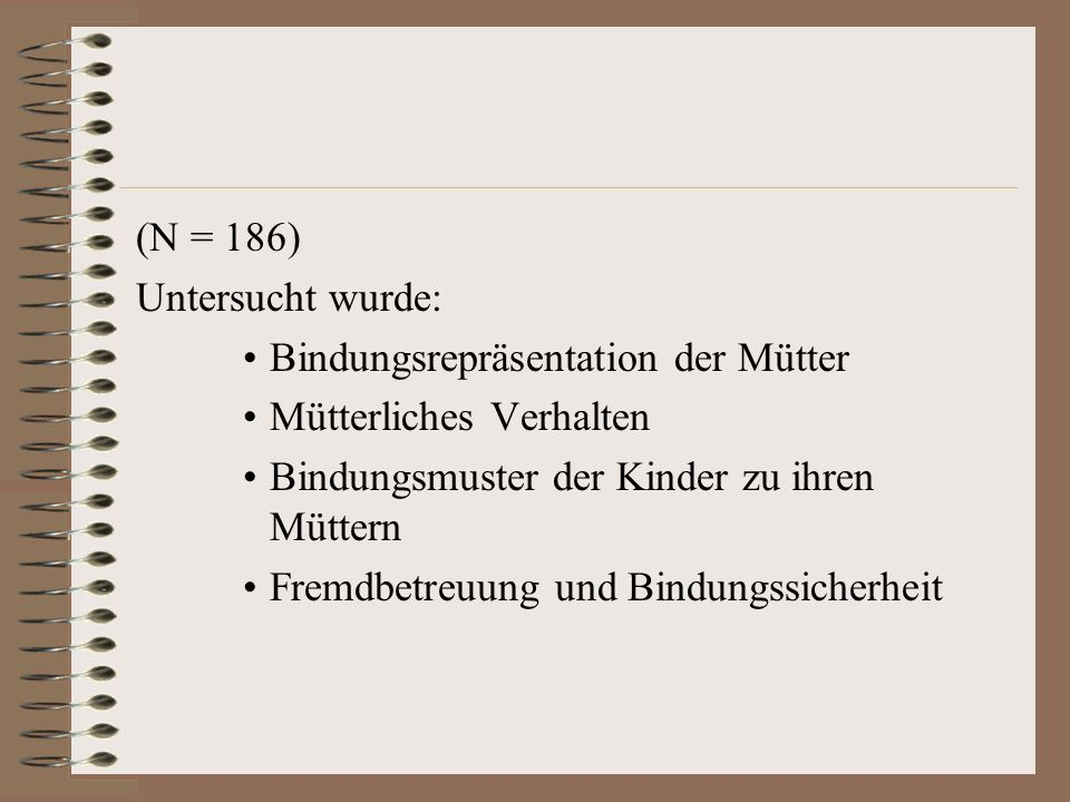 (N = 186) Untersucht wurde: Bindungsrepräsentation der Mütter. Mütterliches Verhalten. Bindungsmuster der Kinder zu ihren Müttern.