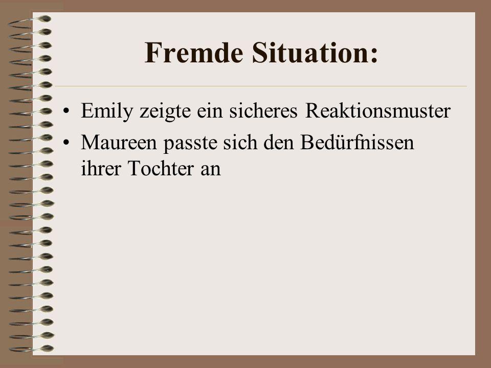 Fremde Situation: Emily zeigte ein sicheres Reaktionsmuster