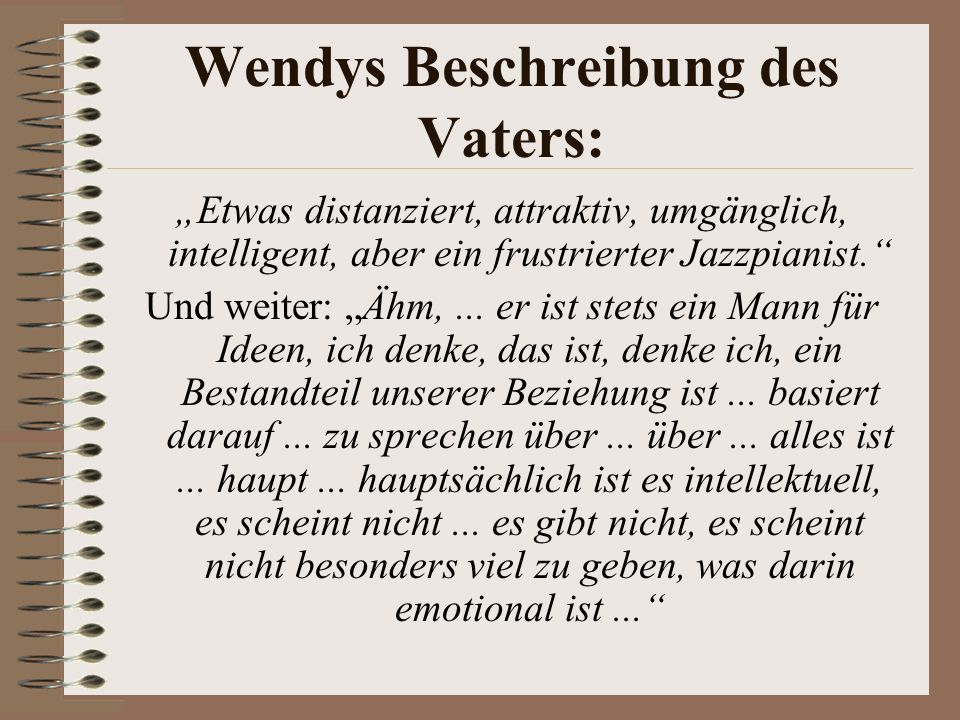 Wendys Beschreibung des Vaters: