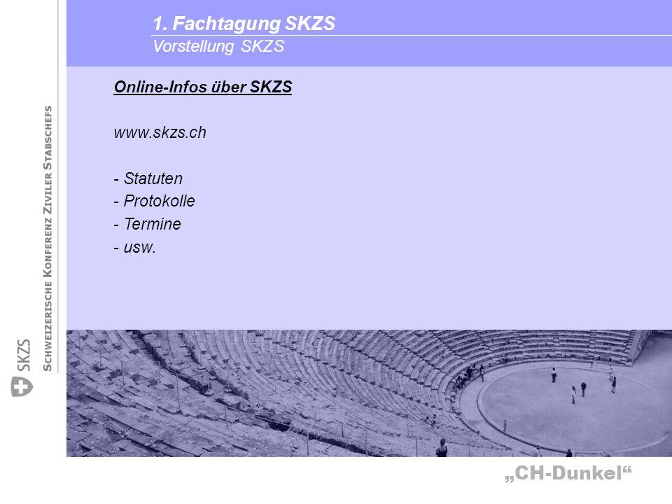 1. Fachtagung SKZS Vorstellung SKZS Online-Infos über SKZS www.skzs.ch