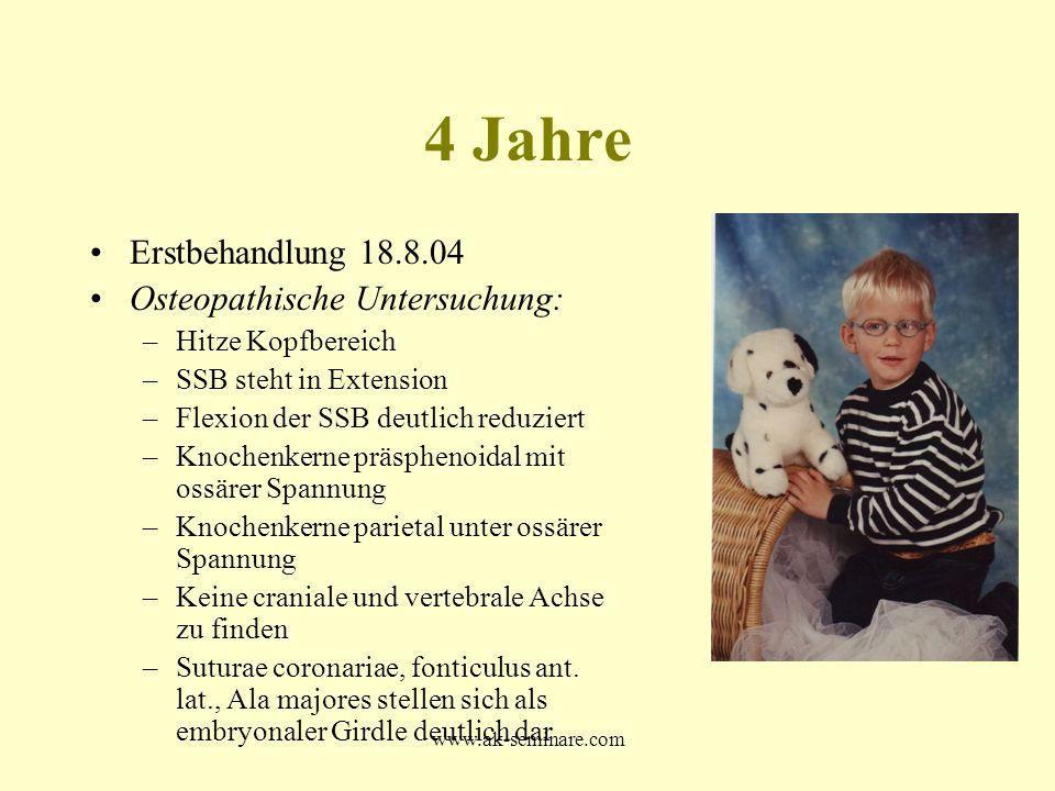 4 Jahre Erstbehandlung 18.8.04 Osteopathische Untersuchung: