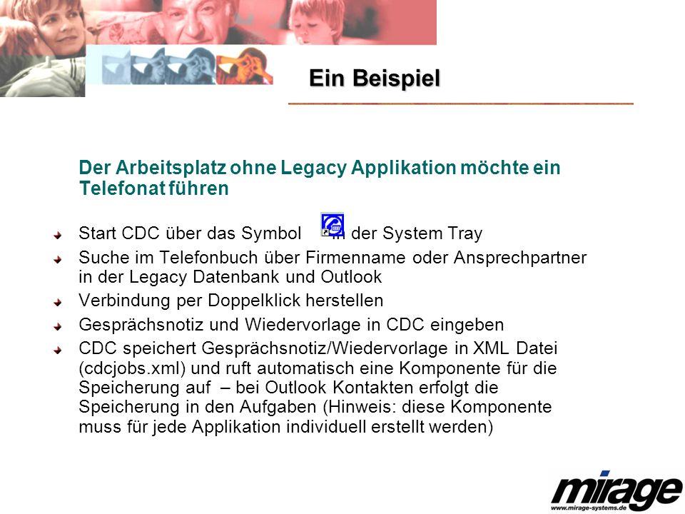 Ein Beispiel Der Arbeitsplatz ohne Legacy Applikation möchte ein Telefonat führen. Start CDC über das Symbol in der System Tray.
