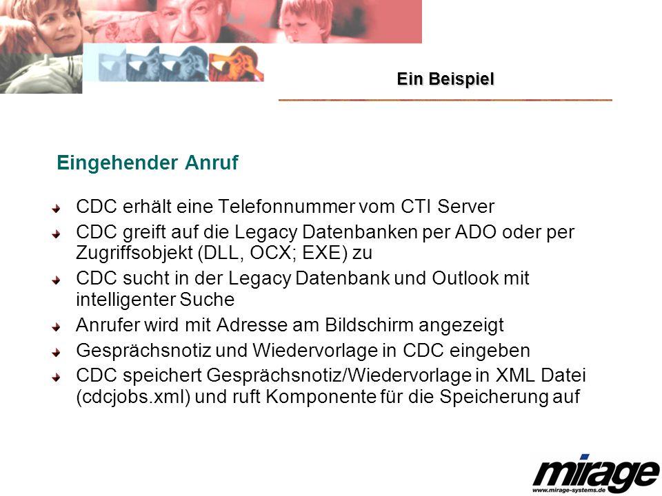CDC erhält eine Telefonnummer vom CTI Server