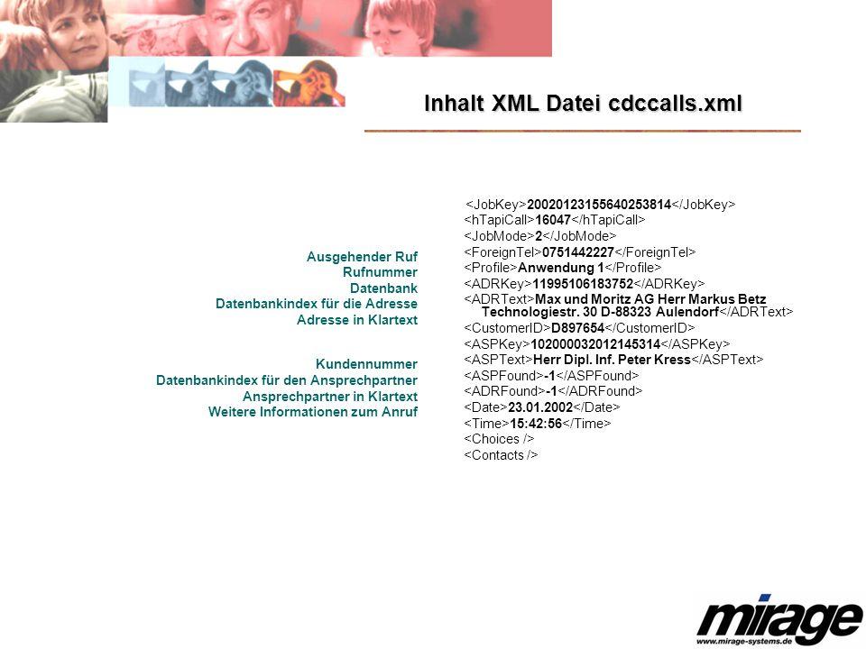Inhalt XML Datei cdccalls.xml
