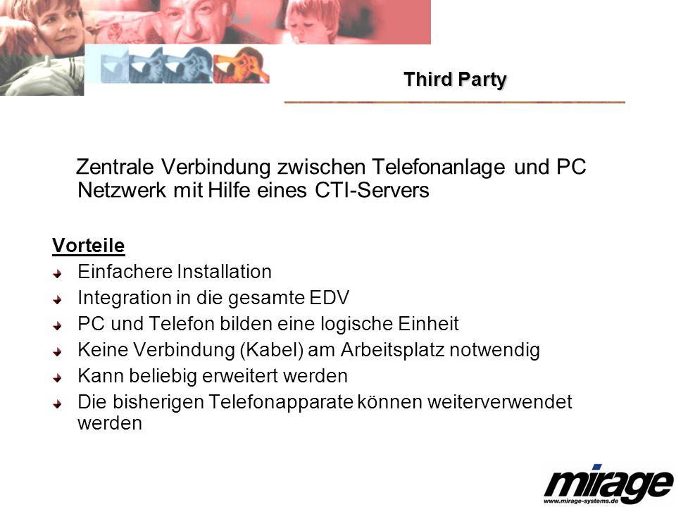 Third Party Zentrale Verbindung zwischen Telefonanlage und PC Netzwerk mit Hilfe eines CTI-Servers.