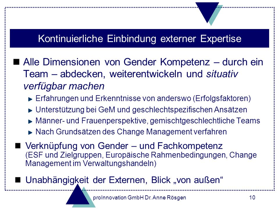 Kontinuierliche Einbindung externer Expertise
