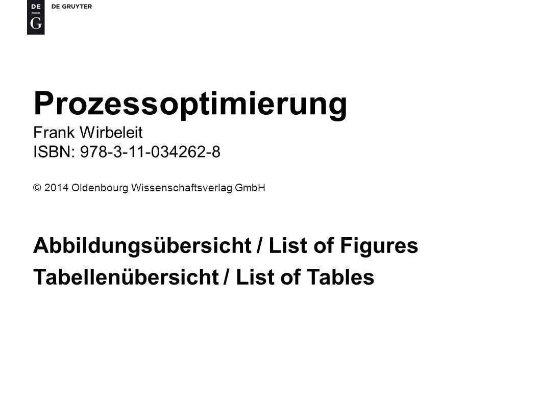 Prozessoptimierung Abbildungsübersicht / List of Figures