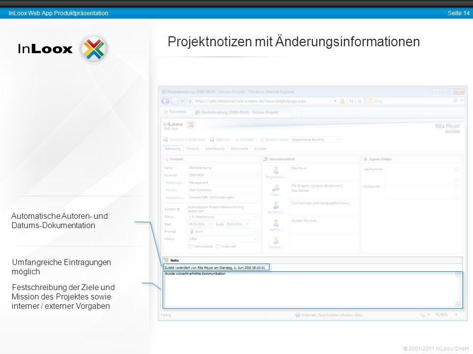 Projektnotizen mit Änderungsinformationen