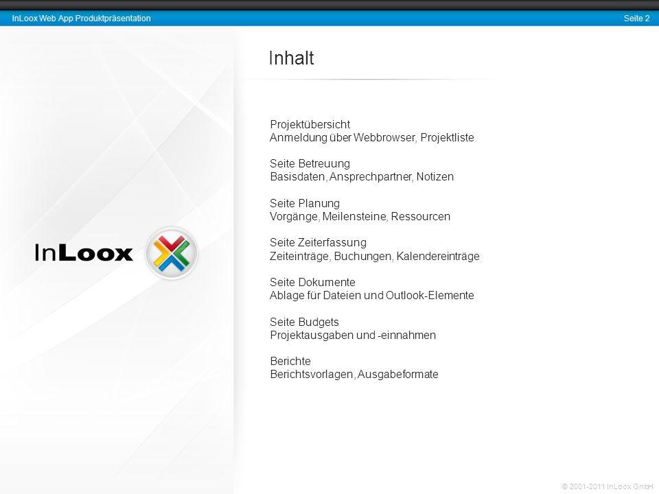 Inhalt Projektübersicht Anmeldung über Webbrowser, Projektliste