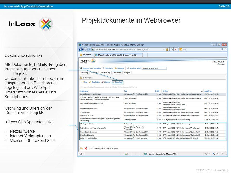 Projektdokumente im Webbrowser