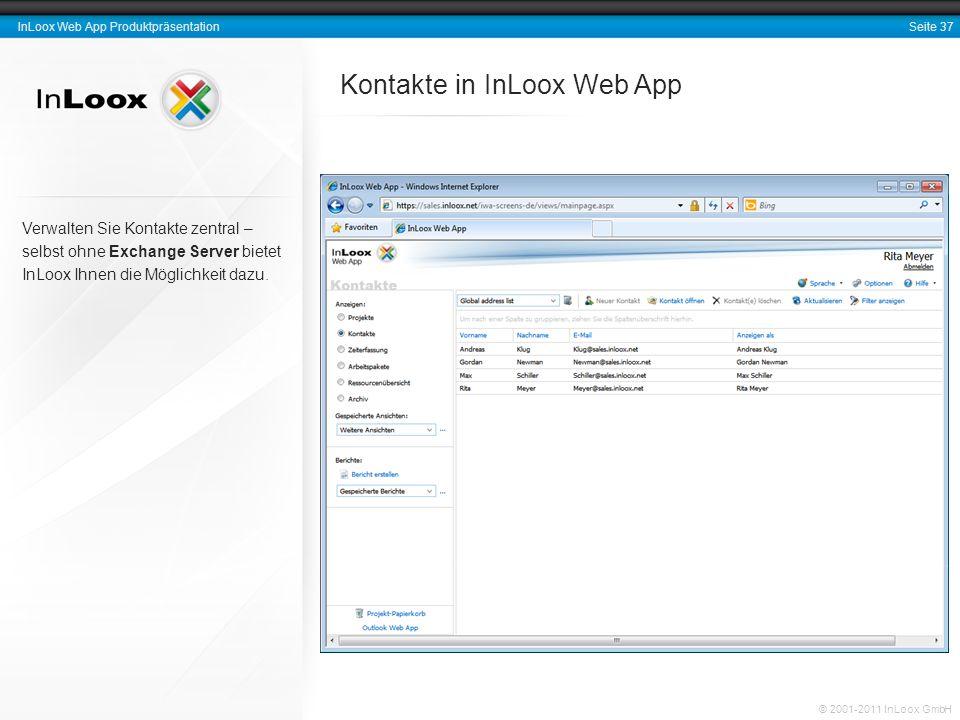 Kontakte in InLoox Web App