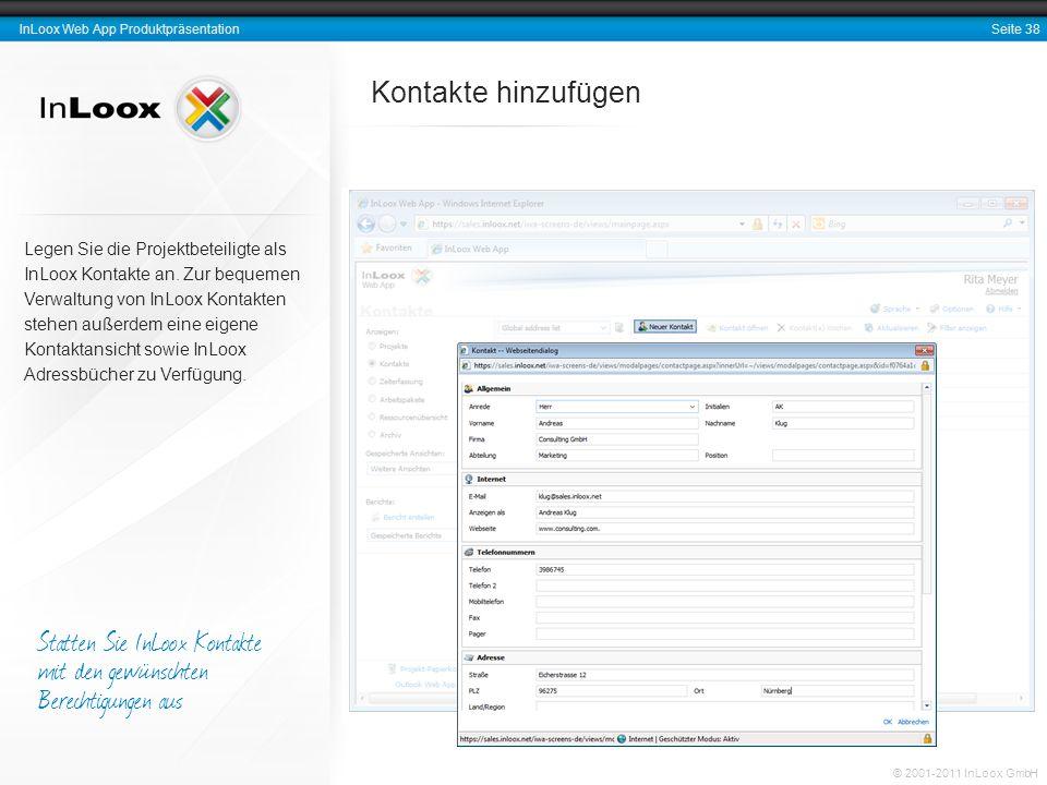 Statten Sie InLoox Kontakte mit den gewünschten Berechtigungen aus