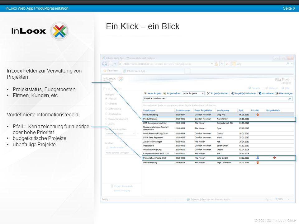 Ein Klick – ein Blick InLoox Felder zur Verwaltung von Projekten