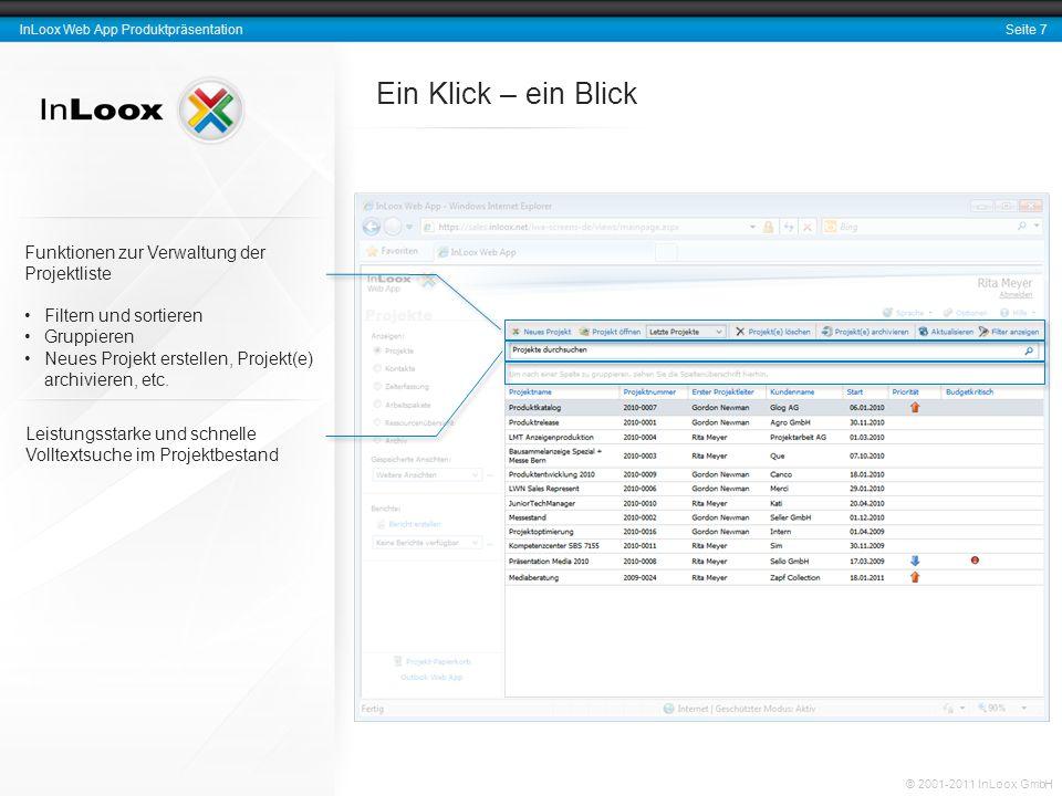 Ein Klick – ein Blick Funktionen zur Verwaltung der Projektliste