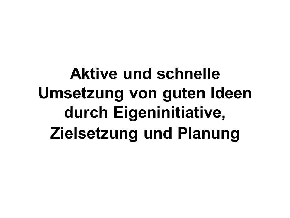 Aktive und schnelle Umsetzung von guten Ideen durch Eigeninitiative, Zielsetzung und Planung