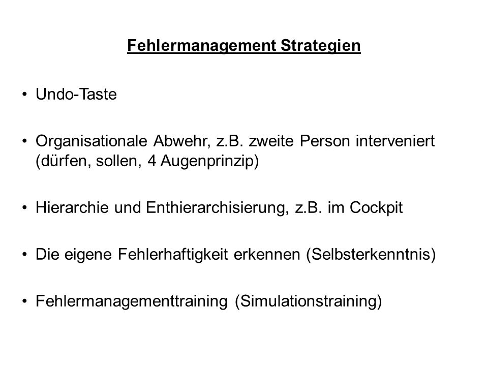 Fehlermanagement Strategien