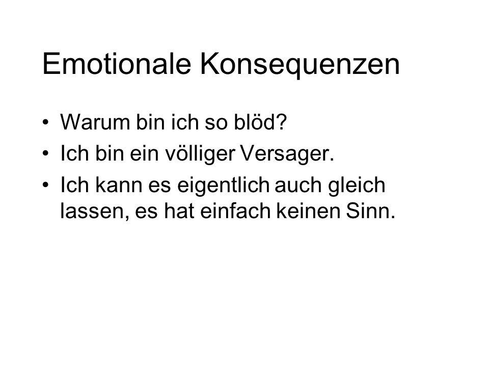 Emotionale Konsequenzen