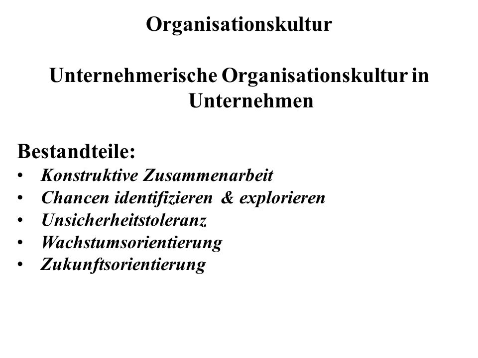 Unternehmerische Organisationskultur in Unternehmen