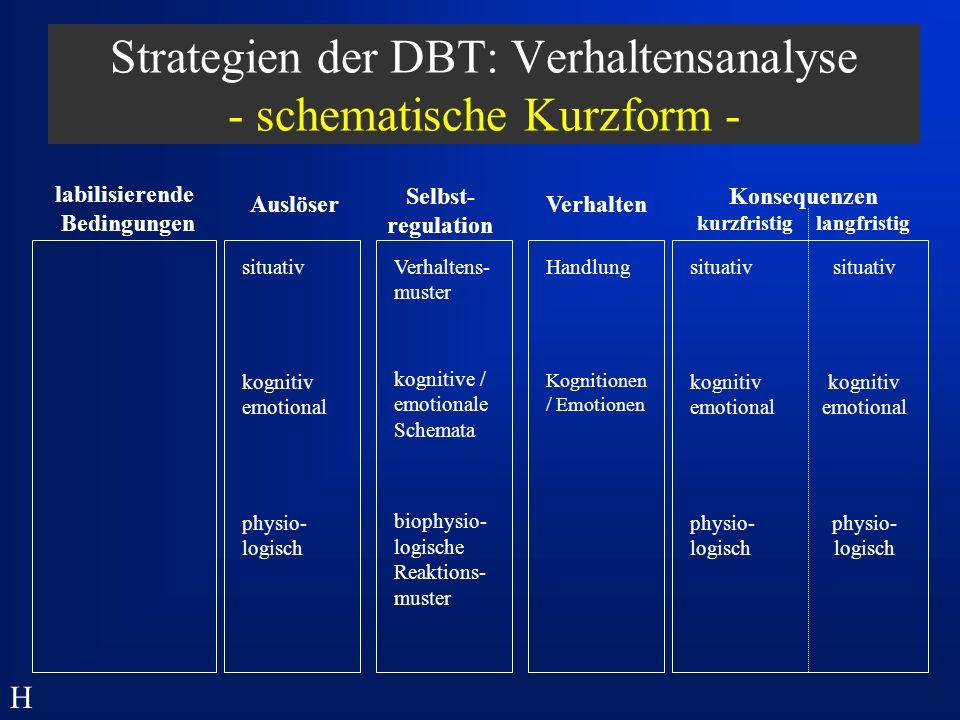 Strategien der DBT: Verhaltensanalyse - schematische Kurzform -