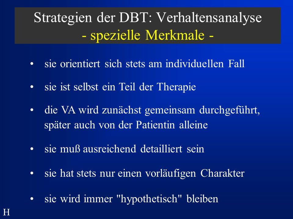 Strategien der DBT: Verhaltensanalyse - spezielle Merkmale -