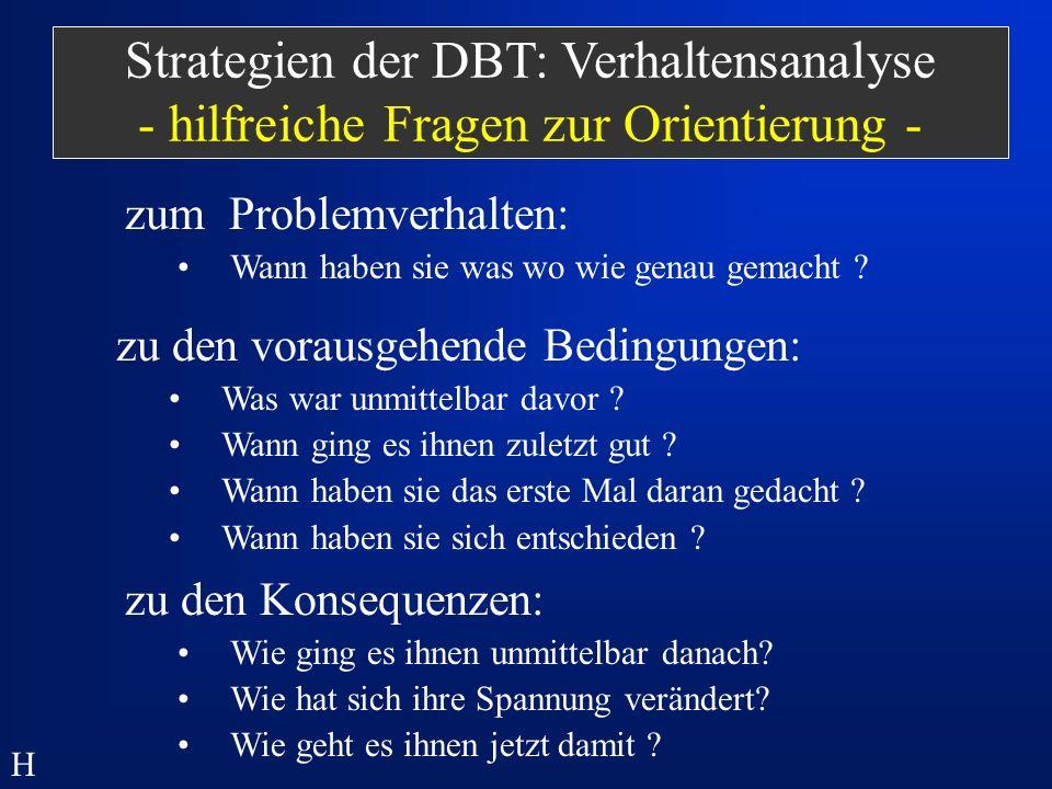 Strategien der DBT: Verhaltensanalyse - hilfreiche Fragen zur Orientierung -