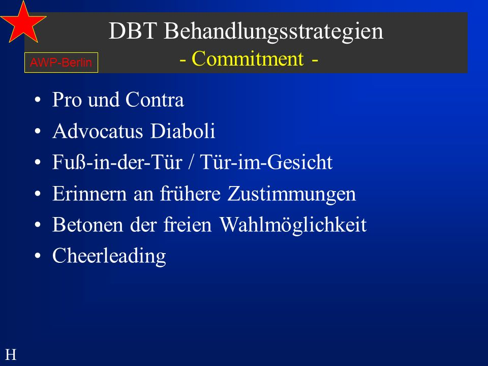 DBT Behandlungsstrategien - Commitment -