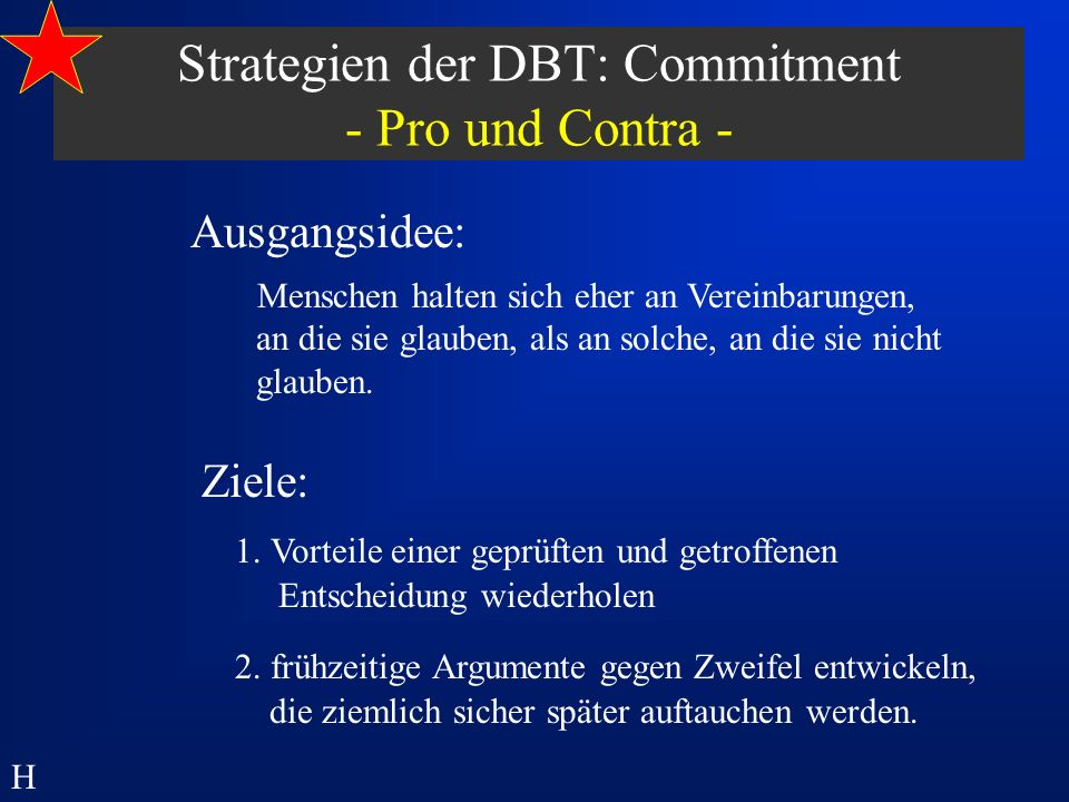 Strategien der DBT: Commitment - Pro und Contra -