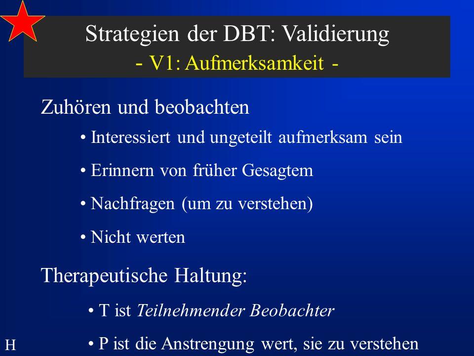 Strategien der DBT: Validierung - V1: Aufmerksamkeit -
