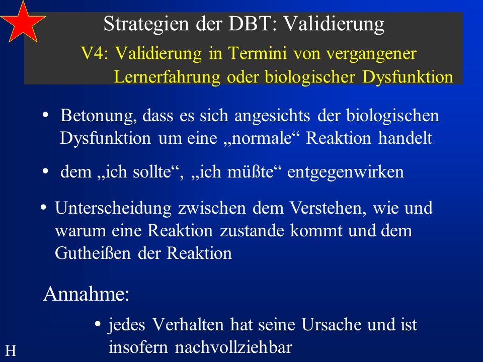 Strategien der DBT: Validierung V4: Validierung in Termini von vergangener Lernerfahrung oder biologischer Dysfunktion