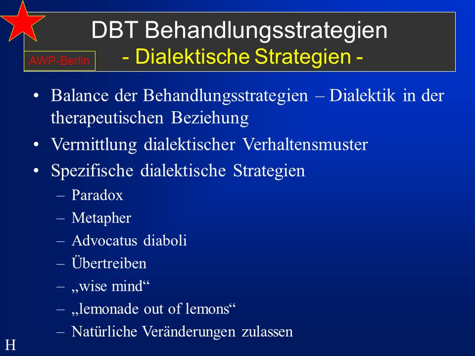 DBT Behandlungsstrategien - Dialektische Strategien -
