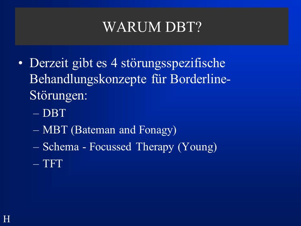 WARUM DBT Derzeit gibt es 4 störungsspezifische Behandlungskonzepte für Borderline-Störungen: DBT.