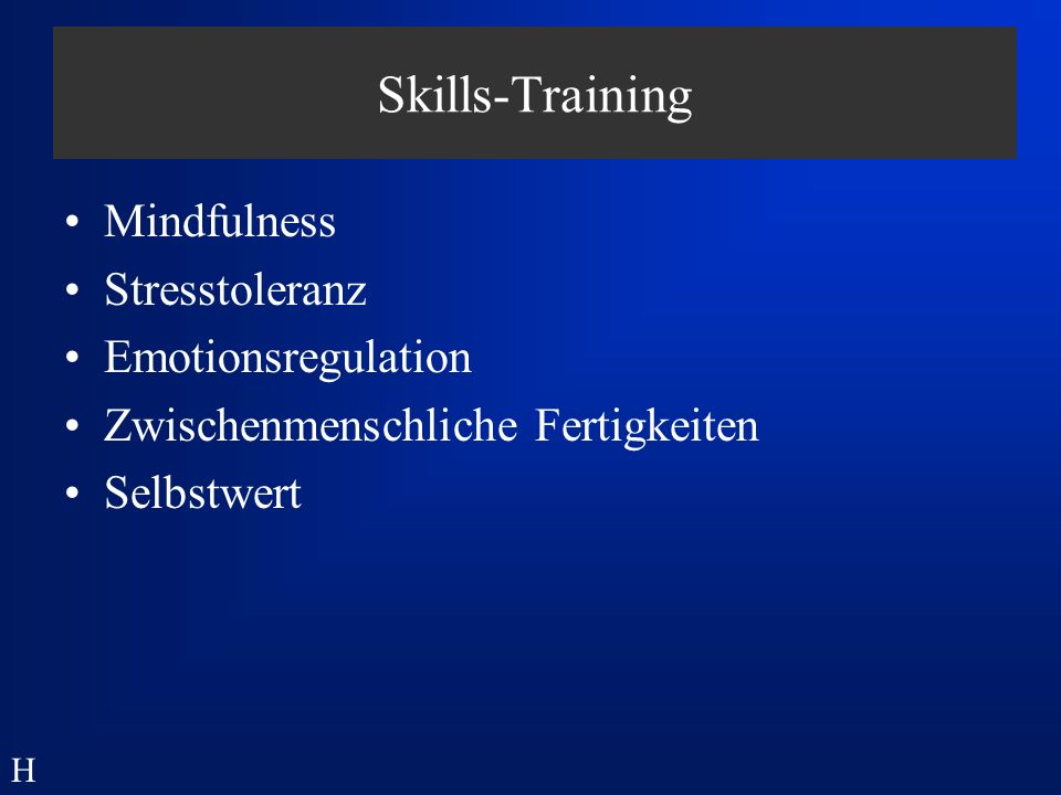 Skills-Training Mindfulness Stresstoleranz Emotionsregulation