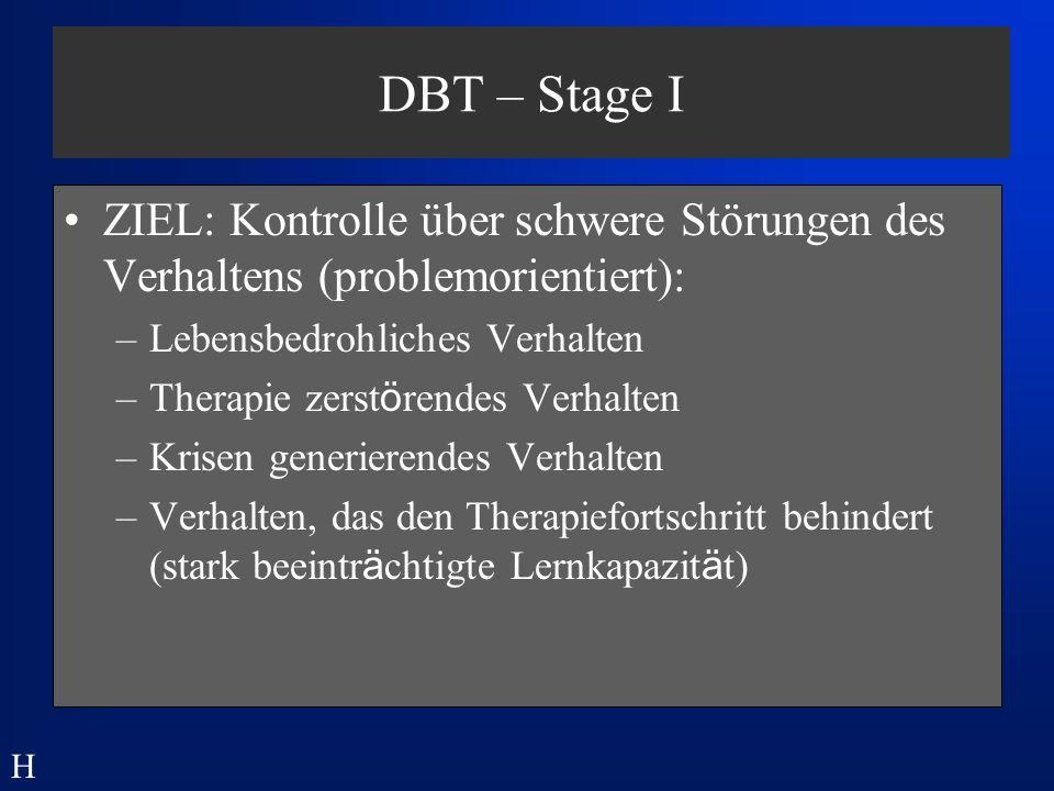 DBT – Stage I ZIEL: Kontrolle über schwere Störungen des Verhaltens (problemorientiert): Lebensbedrohliches Verhalten.