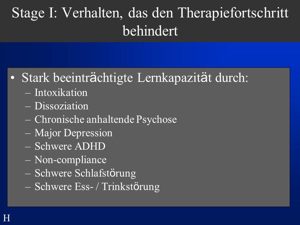 Stage I: Verhalten, das den Therapiefortschritt behindert
